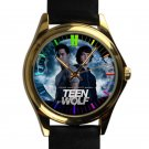 cool teen wolf season Tyler Posey leather gold Wristwatches