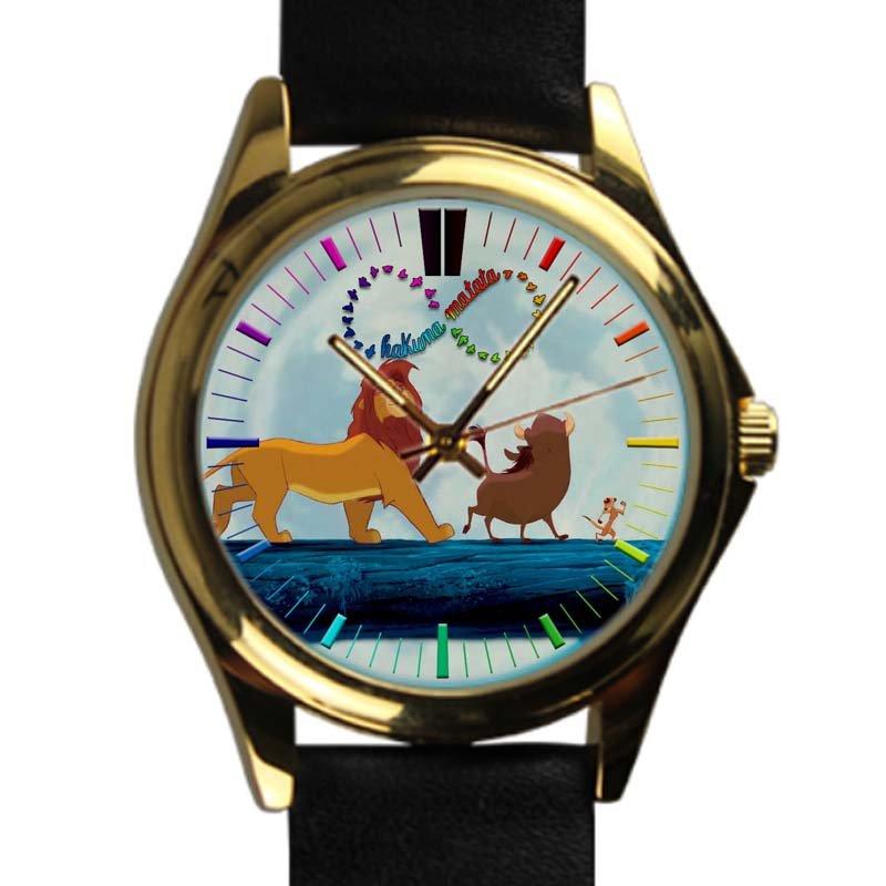 cool hakuna matata lion king simba leather gold Wristwatches