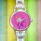 cute adventure time princess bubblegum round charm watches stainless steel