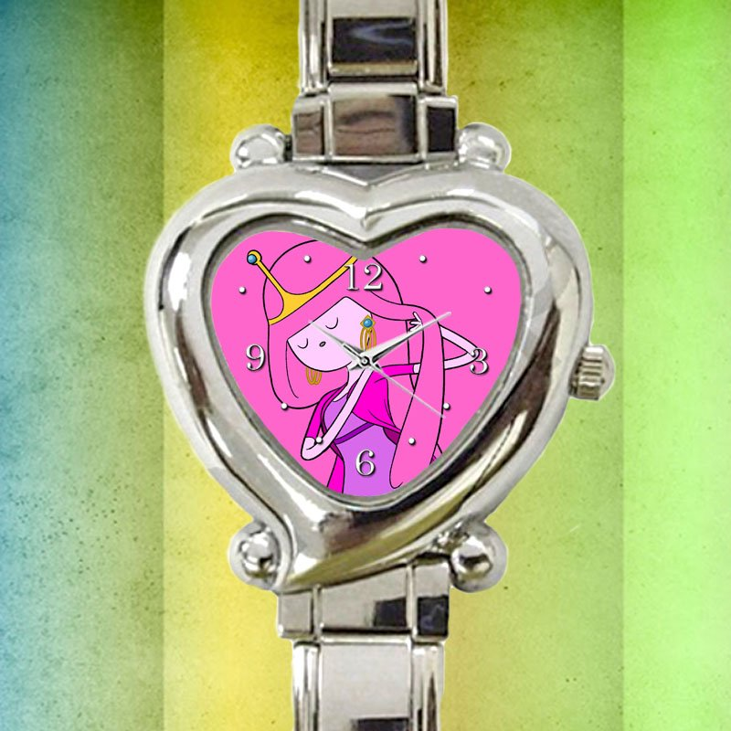 cute adventure time princess bubblegum heart charm watches stainless steel