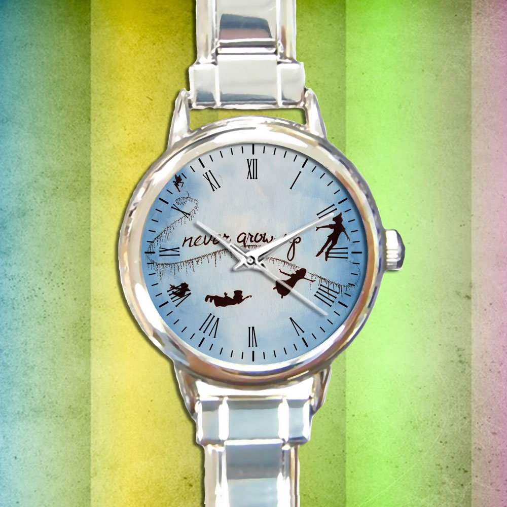 cute peter pan wendy tinkerbell never grow up round charm watches stainless steel