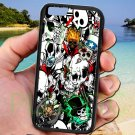 "sticker bomb racing skull slash skeleton fit for iphone 6 4.7"" black case cover"