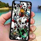 "sticker bomb racing skull slash skeleton fit for iphone 6 plus 5.5"" black case cover"