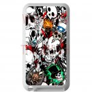 sticker bomb racing skull slash skeleton fit for ipod touch 4 white case cover