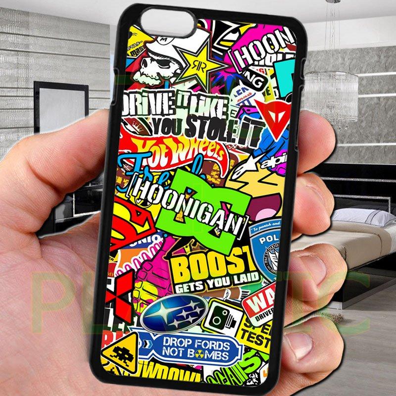 "sticker bomb racing hoonigan subaru fit for iphone 6 plus 5.5"" black case cover"