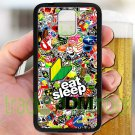 Eat Sleep JDM sticker bomb ghostbusters subaru fit for samsung galaxy S5 S 5 S V black case cover