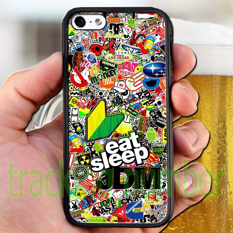 Eat Sleep JDM sticker bomb ghostbusters subaru fit for iphone 4 4s black case cover