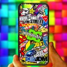 "Eat Sleep JDM sticker bomb hoonigan subaru fit for iphone 6 4.7"" black case cover"