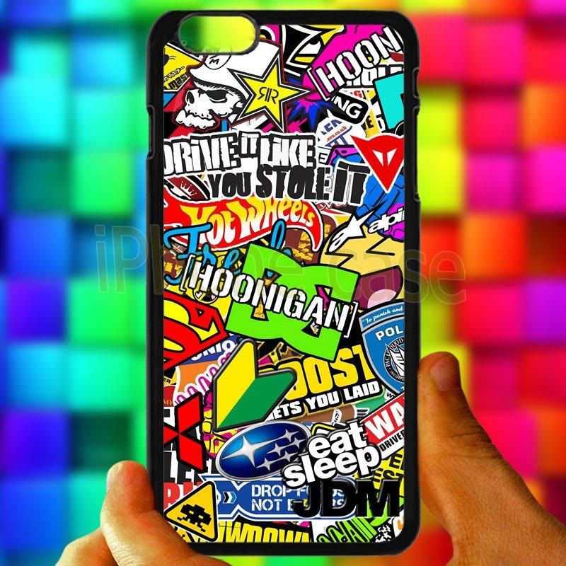 Eat Sleep JDM sticker bomb hoonigan subaru fit for iphone 6s plus black case cover