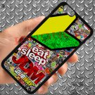 "Eat Sleep JDM sticker bomb motocross dubway fit for iphone 6 plus 5.5"" black case cover"