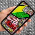 Eat Sleep JDM sticker bomb motocross dubway fit for samsung galaxy S5 S 5 S V black case cover