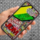 Eat Sleep JDM sticker bomb motocross dubway fit for samsung galaxy S6 S 6 S VI black case cover