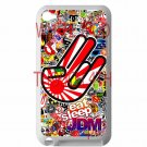 Eat Sleep JDM sticker bomb hand racing fit for ipod touch 4 white case cover