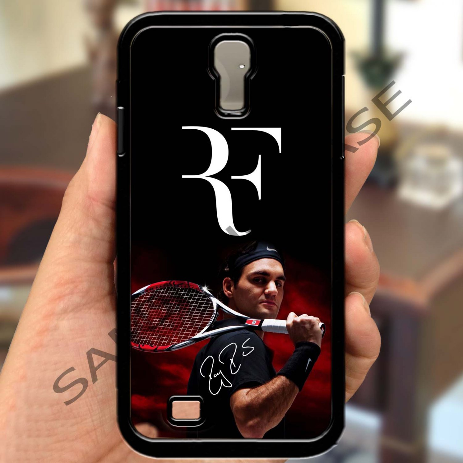 roger federer logo tennis signature fit for samsung galaxy S4 S 4 S IV black case cover