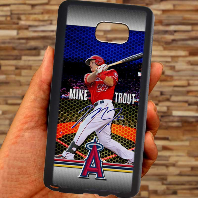 Mike Trout Baseball Jersey Los Angeles Angels fit for samsung galaxy S6 S 6 edge+ black case cover