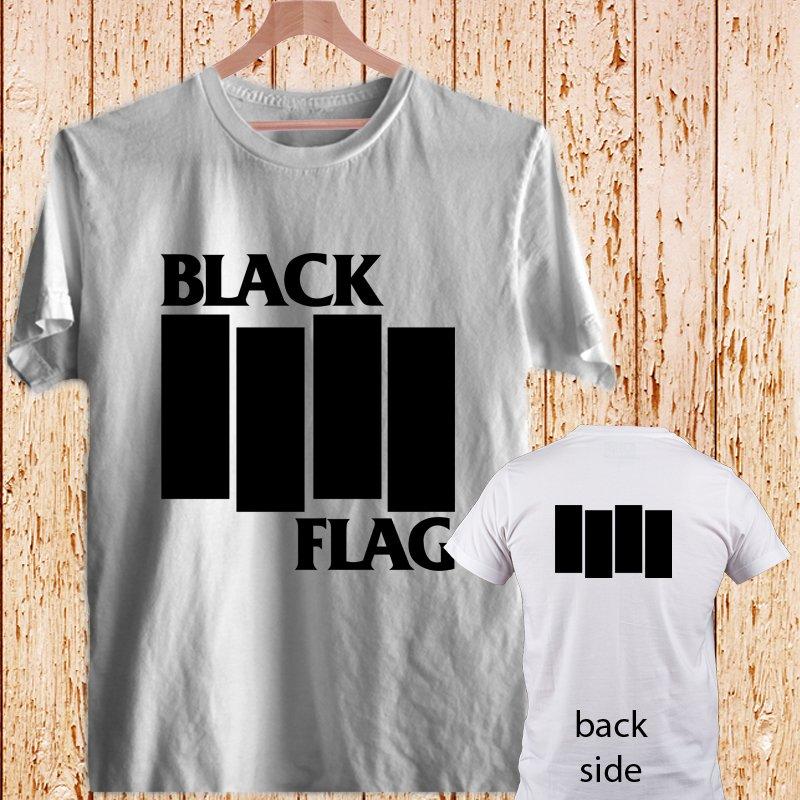 2 Side Black Flag Vintage Rock Band Logo Greg Ginn white t-shirt tshirt shirts tee SIZE L