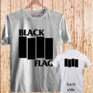2 Side Black Flag Vintage Rock Band Logo Greg Ginn white t-shirt tshirt shirts tee SIZE L