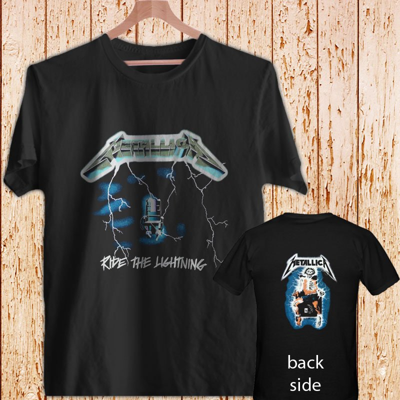 Metallica Ride the Lightning black t-shirt tshirt shirts tee SIZE L