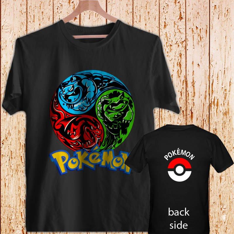 Pokemon Venusaur Charizard Blastoise black t-shirt tshirt shirts tee SIZE L