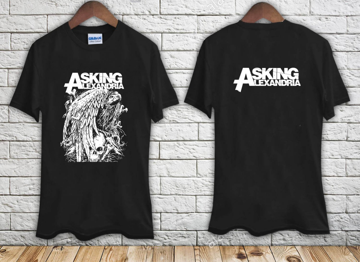 Asking Alexandria Eagle Metal Music Rock Band black t-shirt tshirt shirts tee SIZE L