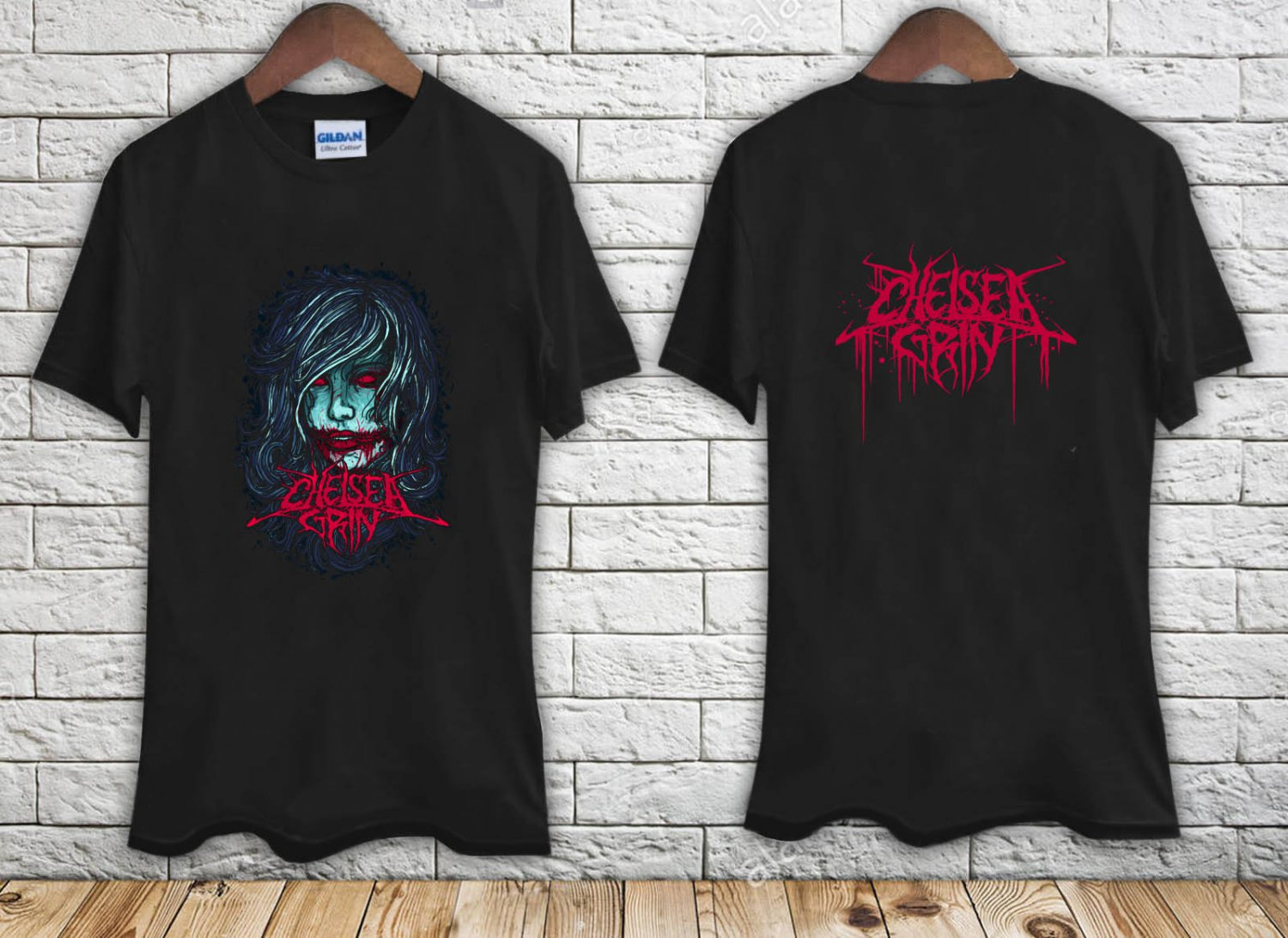 CHELSEA GRIN GIRL FACE DEATHCORE METALCORE SUICIDE SILENCE black t-shirt tshirt shirts tee SIZE L