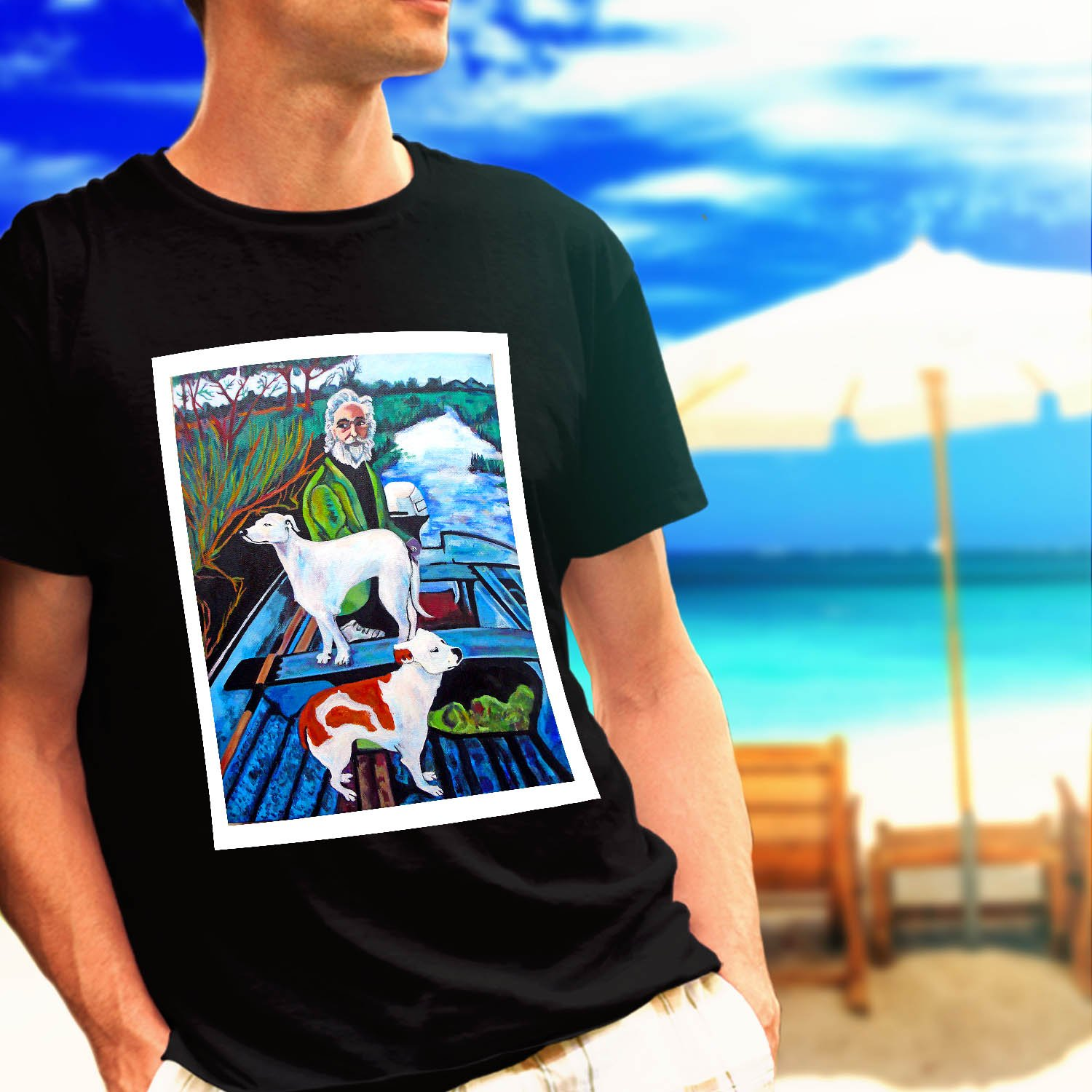 GOODFELLAS *Painting Old Man with Two Dogs black t-shirt tshirt shirts tee SIZE XL