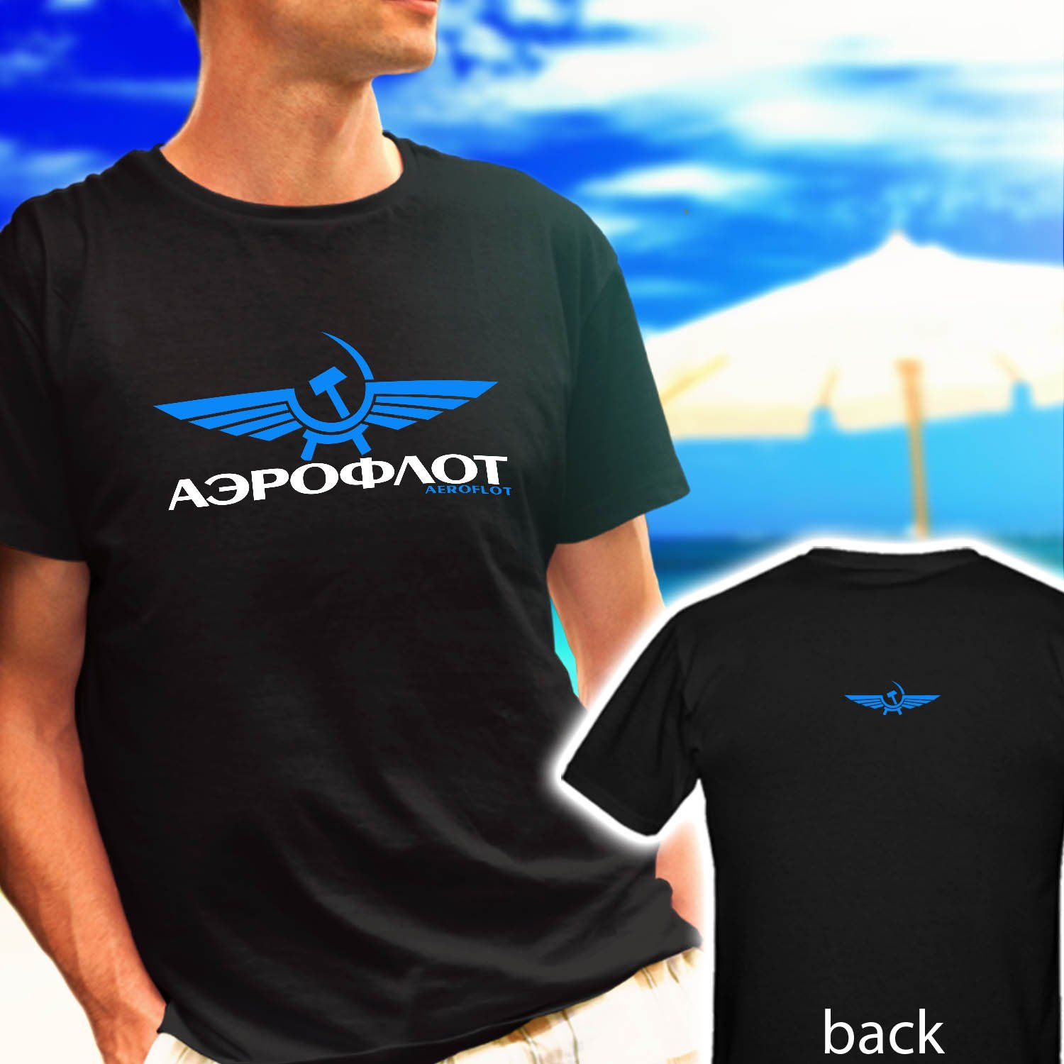 AEROFLOT Russian Airlines Aviation Logo black t-shirt tshirt shirts tee SIZE 2XL