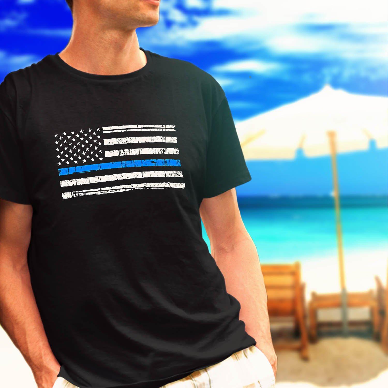 Police Thin Blue Line Flag black t-shirt tshirt shirts tee SIZE L