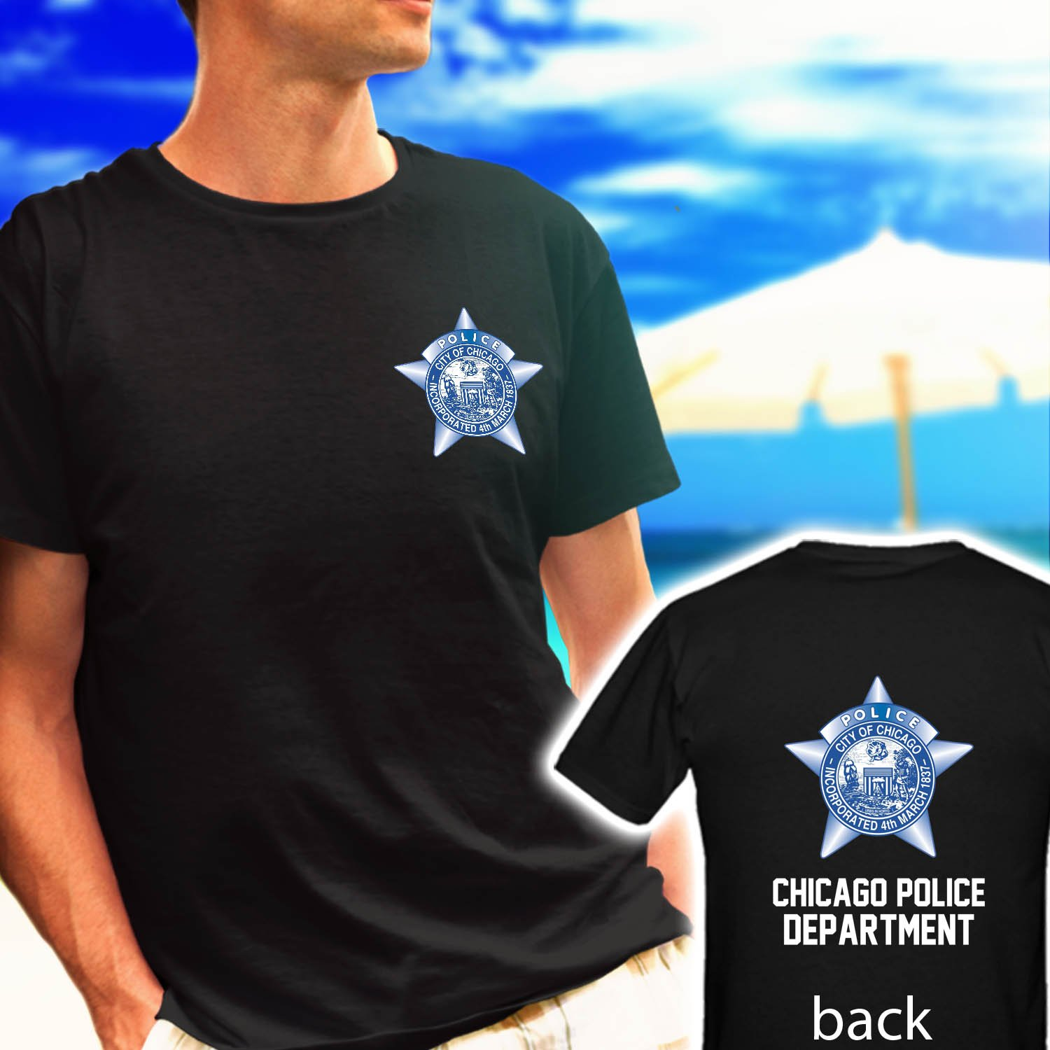 CHICAGO POLICE DEPARTMENT LOGO BADGE black t-shirt tshirt shirts tee SIZE M