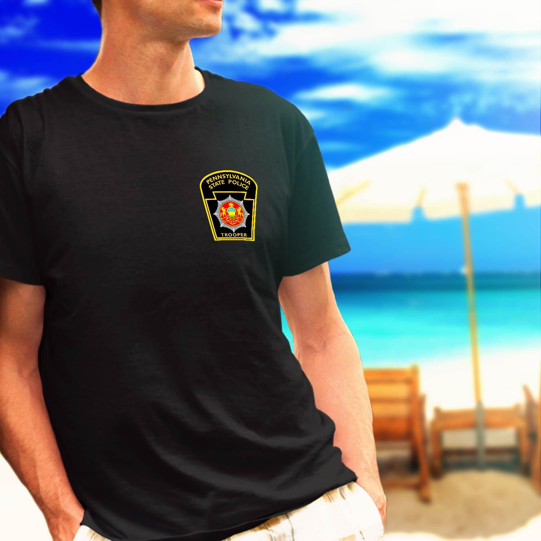 pennsylvania state police dept logo black t-shirt tshirt shirts tee SIZE S