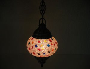 Electrical mosaic hanging lamp glass lantern candle holder lampe mosaique hg 93