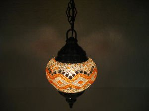 Electrical orange mosaic hanging lamp glass candle holder lampe mosaique hg 99