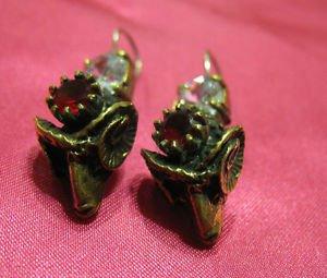 1 of a kind handmade earrings vintage antique tribal kuchi gem stone unique 8