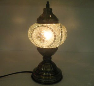 white mosaic glass table lamp tischlampe moroccan lantern lampe mosaique 03