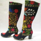 Suzani boots handmade shoes embroidery shoes Turkoman boots velvet shoes 22