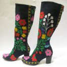 Suzani boots handmade shoes embroidery shoes Turkoman boots velvet shoes 29