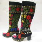 Suzani boots handmade shoes embroidery shoes Turkoman boots velvet shoes 24