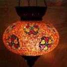 orange mosaic hanging lamp glass chandelier light lampen handmade candle  h 040