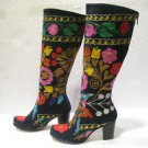 Suzani boots handmade shoes embroidery shoes Turkoman boots velvet shoes 23