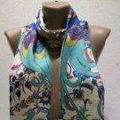 100 % silk scarf shawl vintage silk scarf handmade scarf soft light scarf m 3