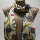100 % silk scarf shawl vintage silk scarf handmade scarf soft light scarf n 10