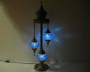 Blue moroccan floor lamp mosaic light lampe mosaique glass candle holder 002