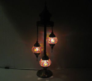 Red moroccan floor lamp mosaic light lampe mosaique glass candle holder 007