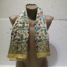 100 % silk scarf shawl vintage silk scarf handmade scarf soft light scarf n 2
