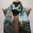 100 % silk scarf shawl vintage silk scarf handmade scarf soft light scarf m 4