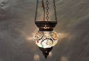 Moroccan lantern mosaic hanging lamp glass chandelier light lampen candle n 009
