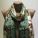 100 % silk scarf shawl vintage silk scarf handmade scarf soft light scarf m 26