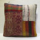 "Antique Decorative Couch Throw Pillow Turkish Kilim Rustic Cushion 18"" (15)"