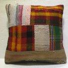 Antique Decorative Patchwork Pillow Turkish Kilim cushion kissen 18'' (no 16)