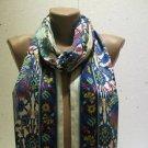 100 % silk scarf shawl vintage silk scarf handmade scarf soft light scarf m23